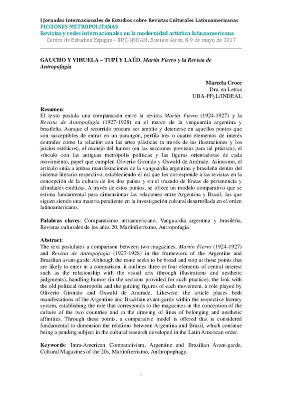 GAUCHO Y VIHUELA – TUPÍ Y LAÚD. Martín Fierro y la Revista de Antropofagia