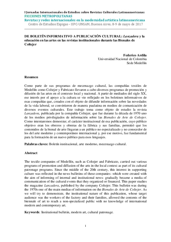 DE BOLETÍN INFORMATIVO A PUBLICACIÓN CULTURAL: Lanzadera y la educación en las artes en las revistas institucionales durante las Bienales de Coltejer