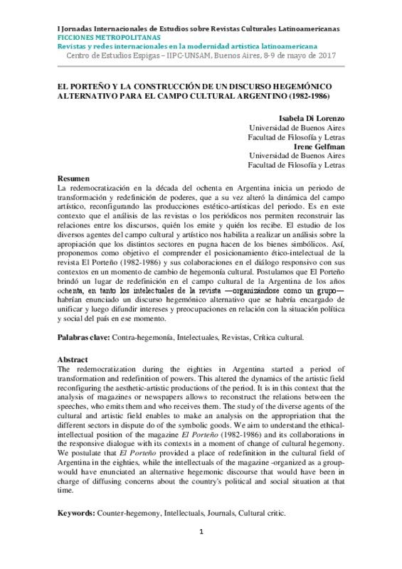 EL PORTEÑO Y LA CONSTRUCCIÓN DE UN DISCURSO HEGEMÓNICO ALTERNATIVO PARA EL CAMPO CULTURAL ARGENTINO (1982-1986)