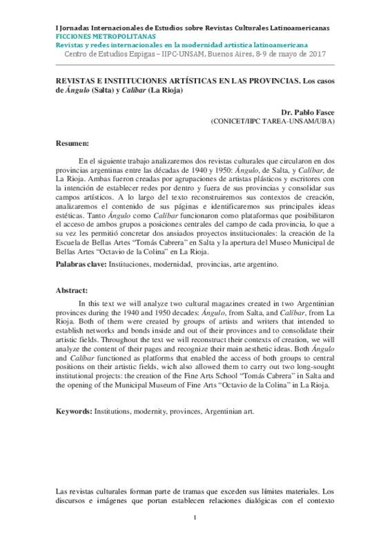REVISTAS E INSTITUCIONES ARTÍSTICAS EN LAS PROVINCIAS. Los casos de Ángulo (Salta) y Calíbar (La Rioja)