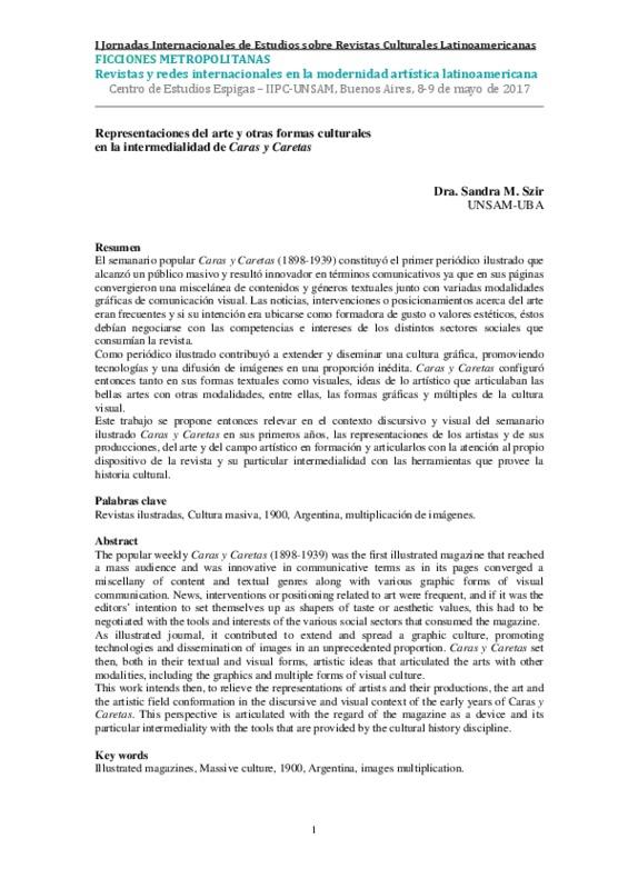 REPRESENTACIONES DEL ARTE Y OTRAS FORMAS CULTURALES EN LA INTERMEDIALIDAD DE CARAS Y CARETAS